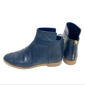 Kate Spade Saturday Blue Leather Ankle Booties 6.5
